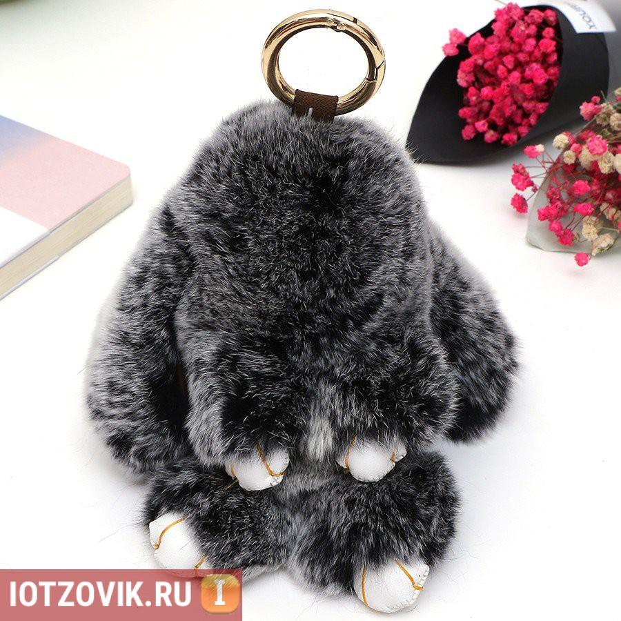 Черный меховой зайка-брелок