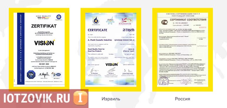 VisionPlus сертификаты