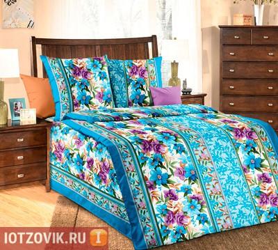 Голубое постельное белье бязь