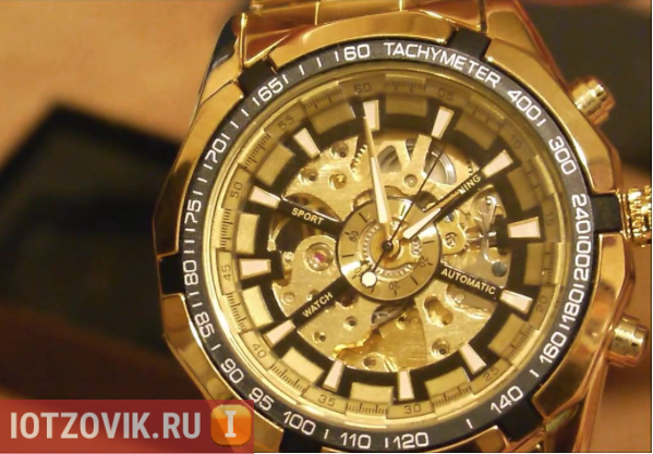 Winner Skeleton Luxury Gold часы