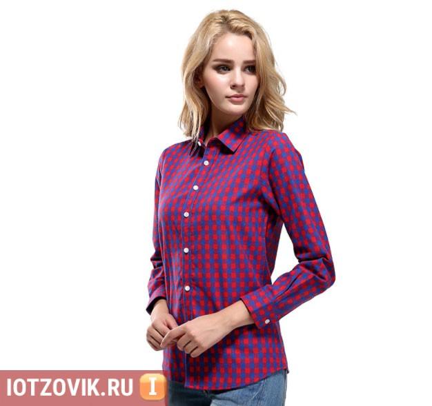 женская рубашка в клеточку с алиэкспресс