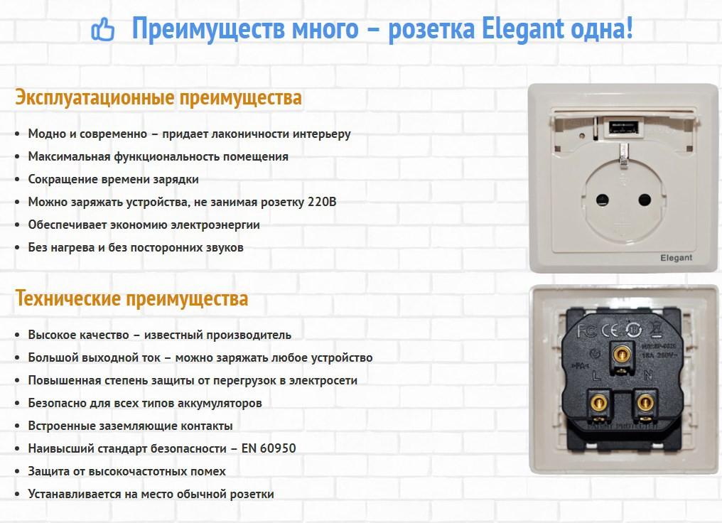 USB-розетки Elegant