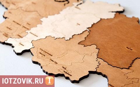 карта россии деревянная